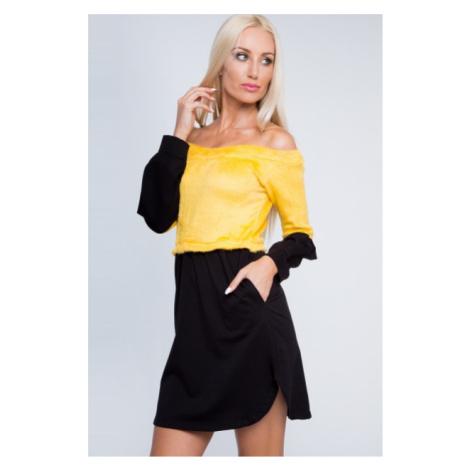 Dvojfarebné, krásne, krátke šaty s dlhým rukávom, žlté FASARDI