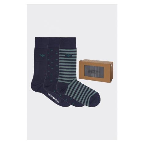 Emporio Armani Underwear Emporio Armani darčekové 3-balenie pánske ponožky - tmavomodrá, zelená