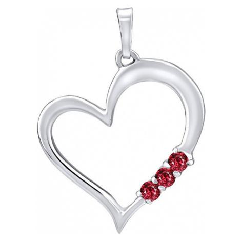 Silvego Strieborný prívesok Srdce s červenými kryštálmi Swarovski SILVEGO11580R