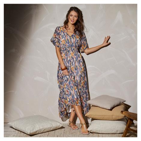 Blancheporte Dlhé šaty so žabkovaním a potlačou indigo/medová