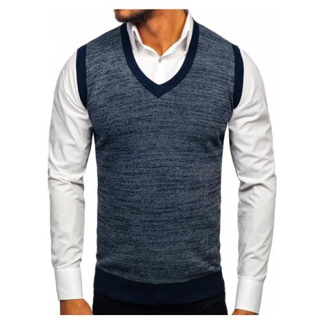 Tmavomodrá pánska pletená vesta Bolf 8131