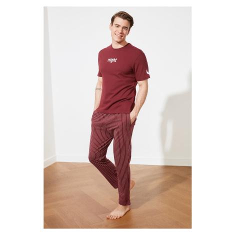 Trendyol Burgundy Printed Knitted Pajamas Set