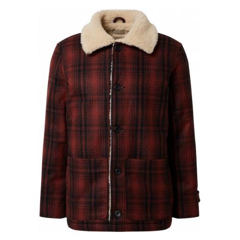 Nudie Jeans Co Zimná bunda 'Mangan Lumber'  tmavomodrá / hrdzavo červená