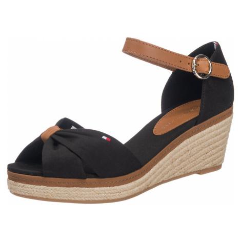 TOMMY HILFIGER Remienkové sandále 'Elba'  koňaková / čierna