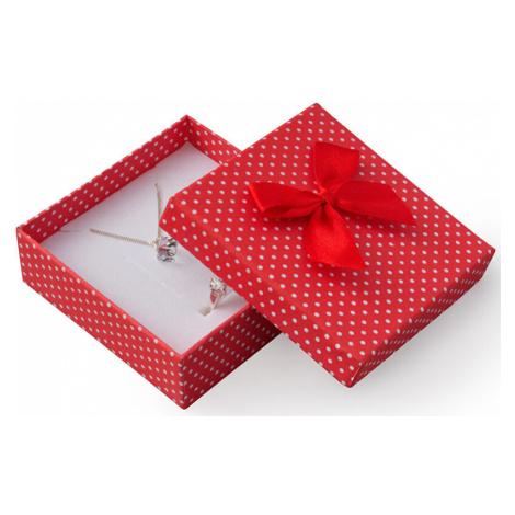JK Box Červená darčeková krabička s bodkami a mašličkou KK-4 / A7 JKbox
