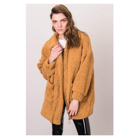 Béžová oversized kožušinová bunda