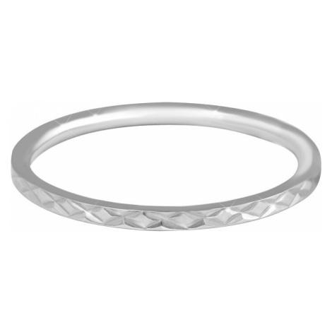 Troli Minimalistický prsteň z ocele s jemným vzorom Silver mm