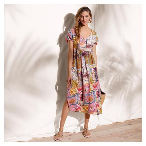 Blancheporte Polodlhé šaty okrová/koralová