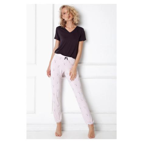 Dámske pyžamo Aruelle Cassandra Long SL Čierno-ružová