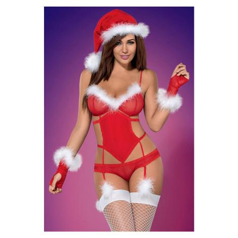 Červené vianočné body Merrily Suit Set Obsessive