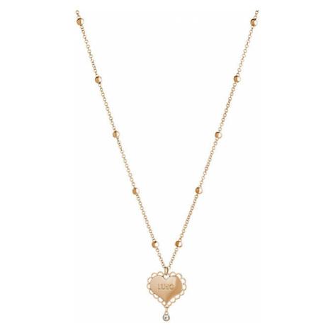 Liu.Jo Ružovo pozlátený oceľový náhrdelník so srdiečkom LJ1446