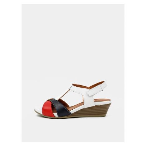 Červeno-biele kožené sandálky na plnom podpätku WILD