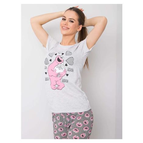 Gray two-piece cotton pajamas