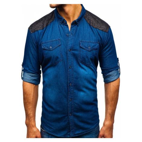 Modrá pánska vzorovaná riflová košeľa s dlhými rukávmi BOLF 0517 MADMEXT