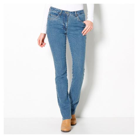 Blancheporte Rovné džínsy pre nízku postavu zapratá modrá