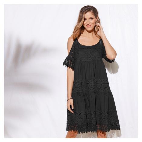 Blancheporte Šaty s čipkou a volánmi čierna