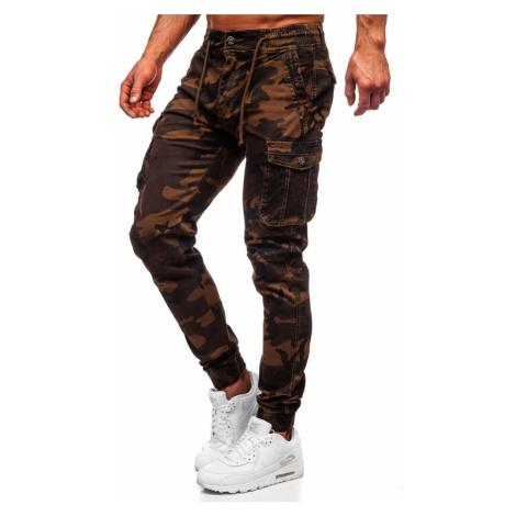 Kamelové kapsáčové jogger nohavice s maskáčovým vzorom Bolf CT6019