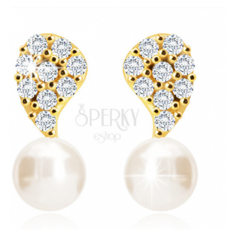 Diamantové náušnice zo 14K zlata - obrátená slzička, číre brilianty, sladkovodná biela perla