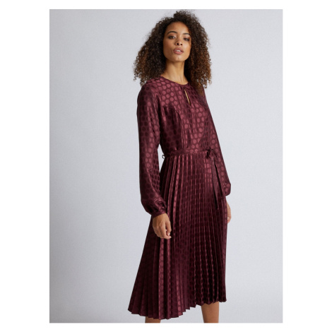Burgundy polka dot midi dress with pleated Dorothy Perkins Tall skirt