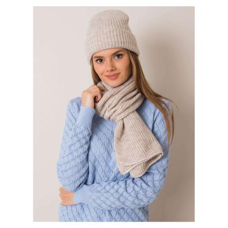 RUE PARIS Beige hat and scarf set