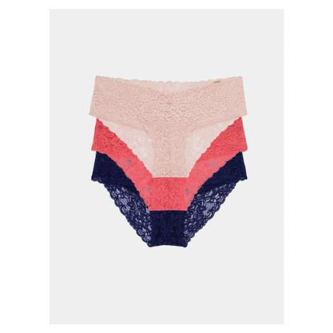 Sada troch krajkových nohavičiek v modrej a ružovej farbe DORINA
