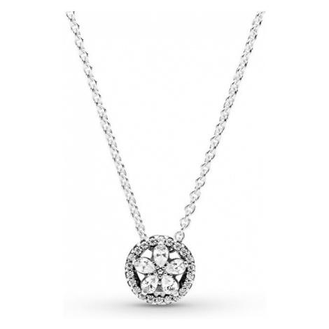 Pandora Trblietavý strieborný náhrdelník Sparkling Snowflake 399230C01-45 (retiazka, prívesok)