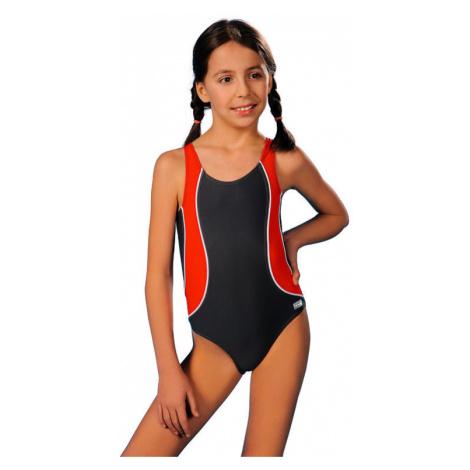 Plavky dievčenské Otýlie sivo-červené Winner