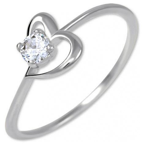 Brilio Zásnubný prsteň s kryštálom Srdce 001 07 -ZĽAVA