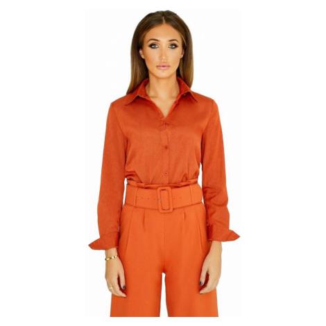 Oranžová košeľa klasického strihu Little Mistress
