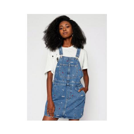 Tommy Jeans Džínsové šaty Denim Embroidery Dungaree DW0DW08644 Modrá Regular Fit Tommy Hilfiger