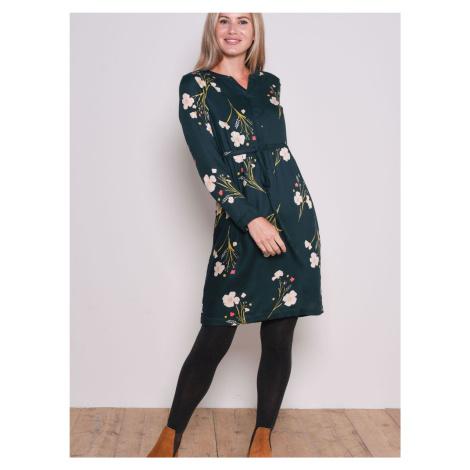 Tmavozelené kvetované šaty Brakeburn