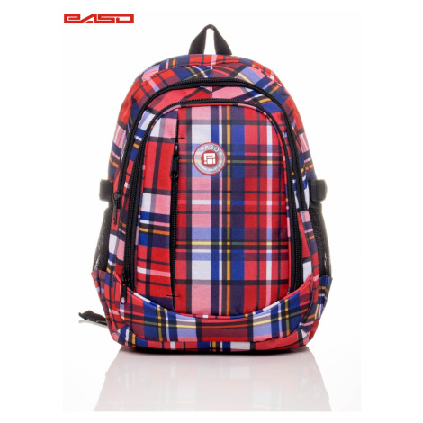 Colorful checked school backpack