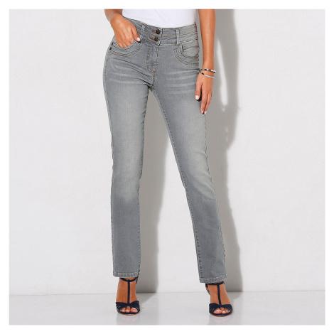 Blancheporte Rovné džínsy v opranom vzhľade sivá