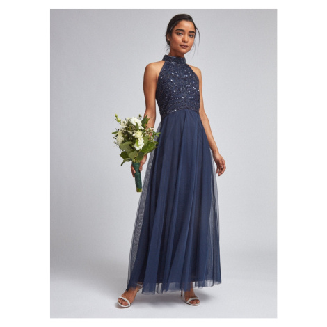 Dark Blue Tulle Maxi dress Dorothy Perkins Petite