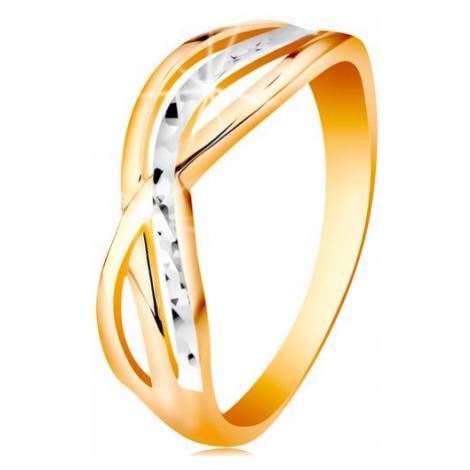 Dvojfarebný prsteň v 14K zlate - zvlnené a rozvetvené línie ramien, ryhy - Veľkosť: 54 mm