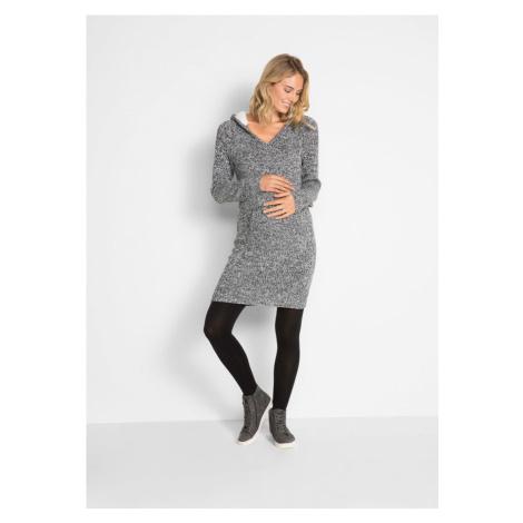 Materské pletené šaty s podšívanou kapucňou bonprix