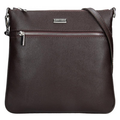 Dámska kožená crossbody kabelka Facebag Paula - tmavo hnedé