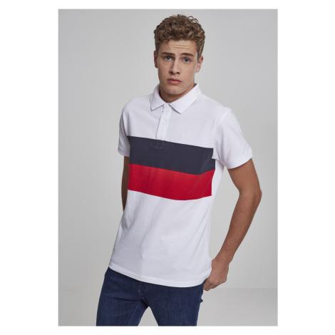 Pánska polokošeľa URBAN CLASSICS Color Block Panel Poloshirt white/navy/fire red