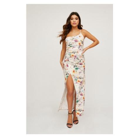 Kvetinové maxi šaty na jedno rameno Little Mistress