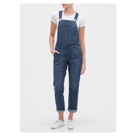 GAP modré dámske džínsy s trakmi Relaxed denim overalls