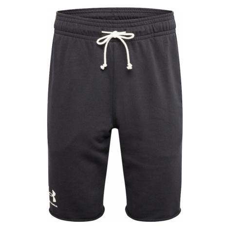 UNDER ARMOUR Športové nohavice 'RIVAL TERRY'  čierna / biela