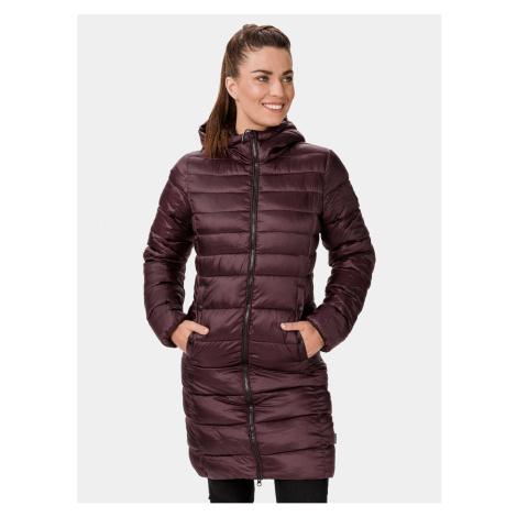 Vínový dámsky zimný prešívaný kabát SAM 73