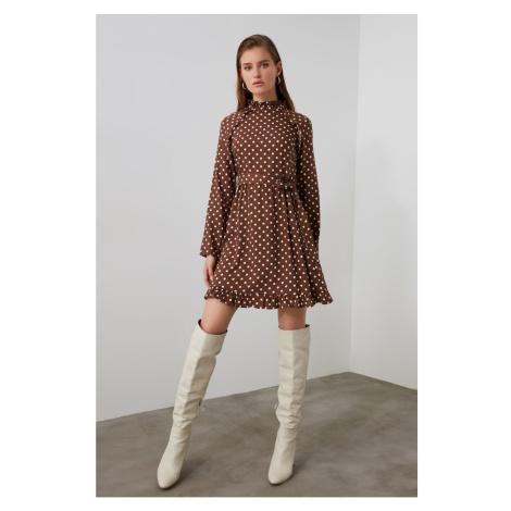 Trendyol Brown Belted Slid Dress