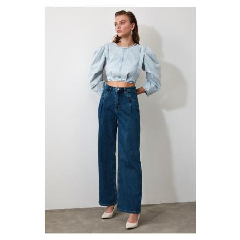 Trendyol Black Pleahigh Waist Wide Leg Jeans Navy