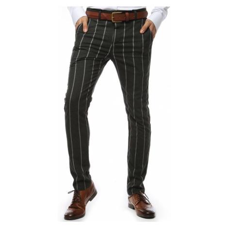 Tmavošedé pásikavé elegantné nohavice DStreet