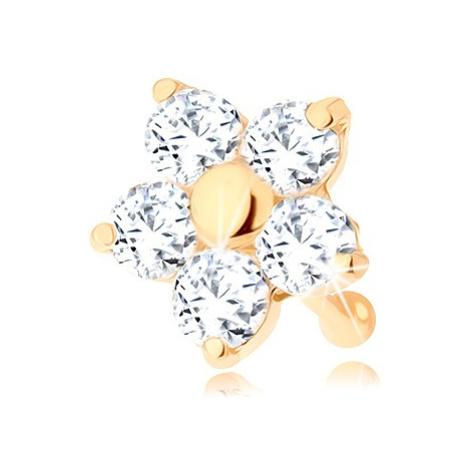 Zlatý piercing do nosa 585 - rovný, trblietavý kvietok z čírych zirkónov