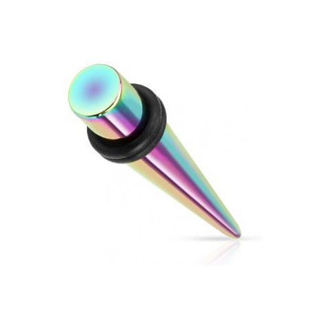 Expander do ucha z ocele 316L, dúhové farby, titánový povrch - Hrúbka: 8 mm