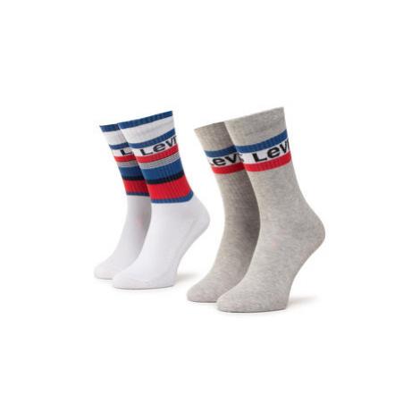 Levi's® Súprava 2 párov vysokých ponožiek unisex 37157-0269 Biela Levi´s