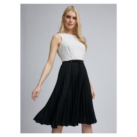 White-black pleated dorothy perkins dress