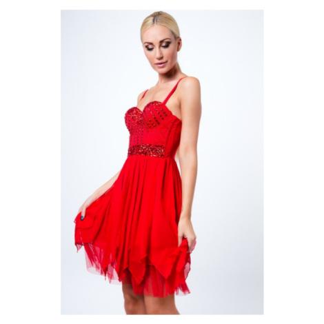 Šaty na ramienka s dekoratívnymi kamienkami, červené FASARDI